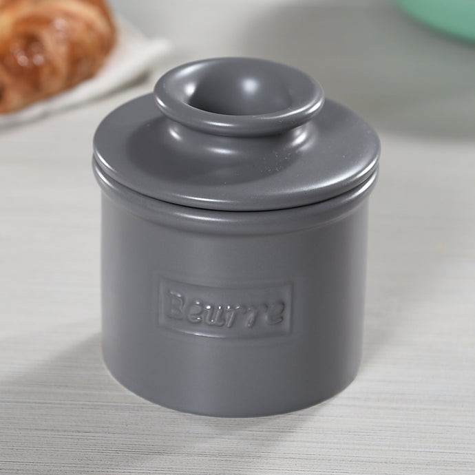 Cafe Collection Matte Finish Steel Gray Butter Bell Crock