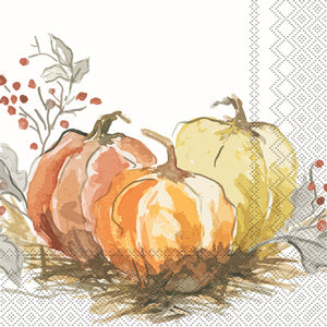 Painted Pumpkin Beverage Napkin