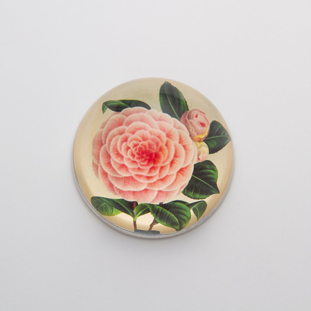 Camellia Decoupage - Crystal Dome Decoupaged Paperweight