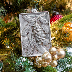Burnished & Embossed Pine Cone and Branch Ornament