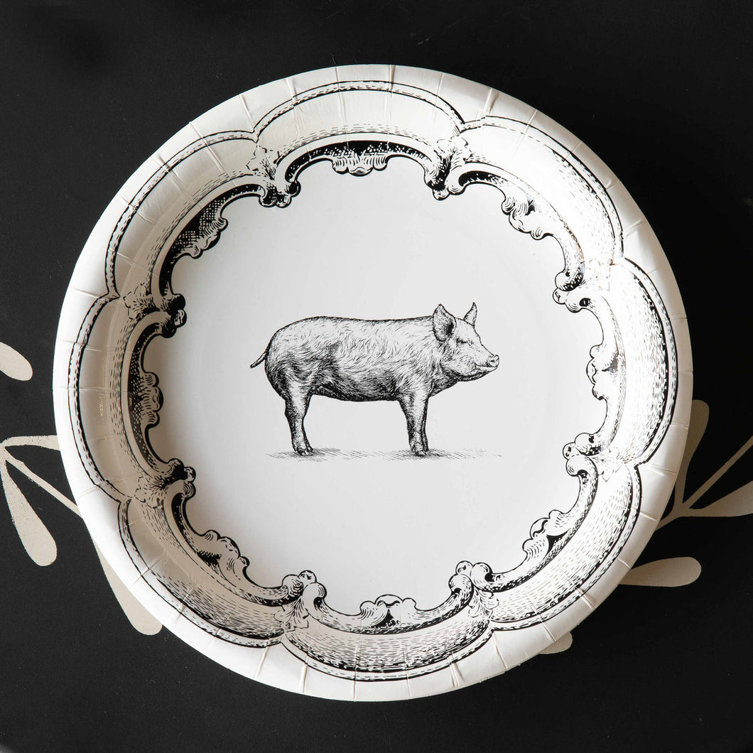 Black and White Pig Paper Dinner Plates 10