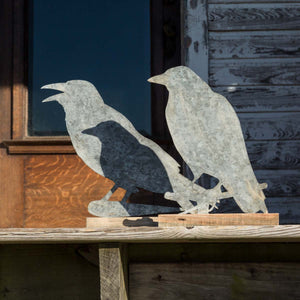Rustic Crow Silhouettes on Wooden Bases