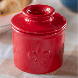 Fleur de Lis Collection Cerise (Red)  Butter Bell Crock