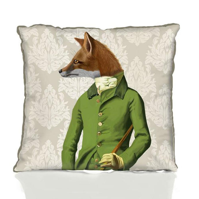 Fox in Green Jacket Pillow by Fab Funky