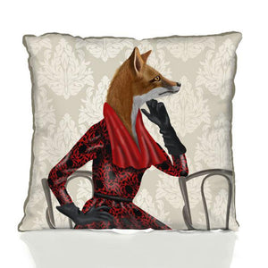 Fox with Red Scarf Pillow by Fab Funky