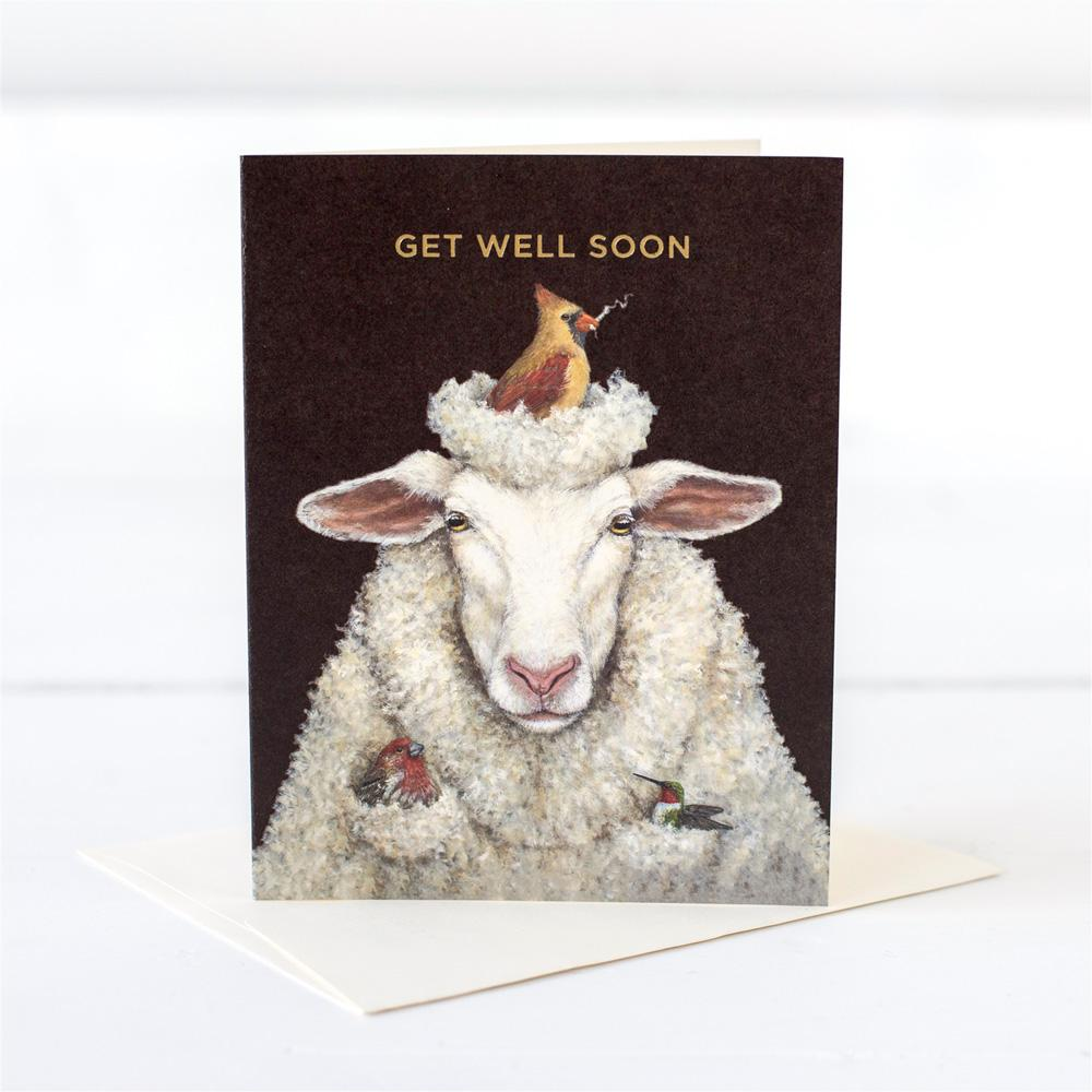 Get Well Sheep Card showing a sheep with a bird  building a nest on his head.