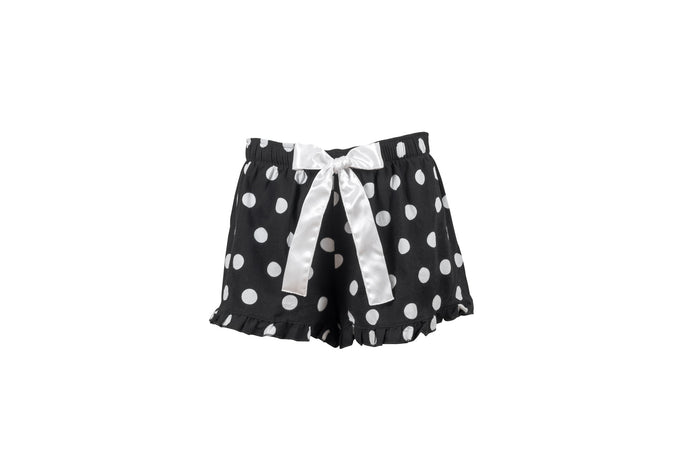 Flannel black and white polka dot shorts with a white satin bow