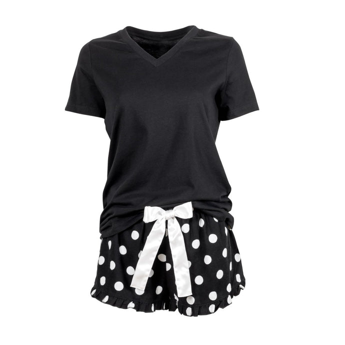Black V neck teeshirt with black and white polka dot shorts