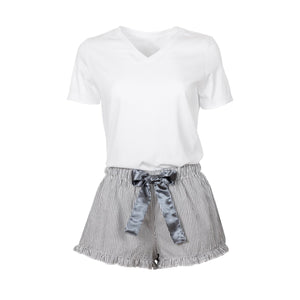 Pajamas or Loungewear - Shorts Striped Gray with White Shirt