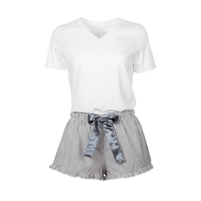 White V necked teeshirt with charcoal grey striped shorts with a gray satin bow.