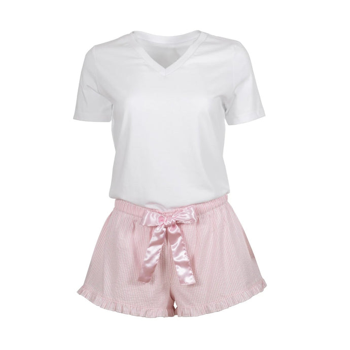 Pajamas  or Loungewear  - Shorts Striped Pink with White Shirt Set