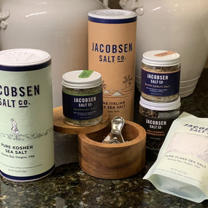 Showing a collection of products form Jacobsen Salt co. Kosher Sea Salt, Rosemary Salt, Black Garlic Salt , Tellicherry Peppercorns and Pure Italian Sea Salt