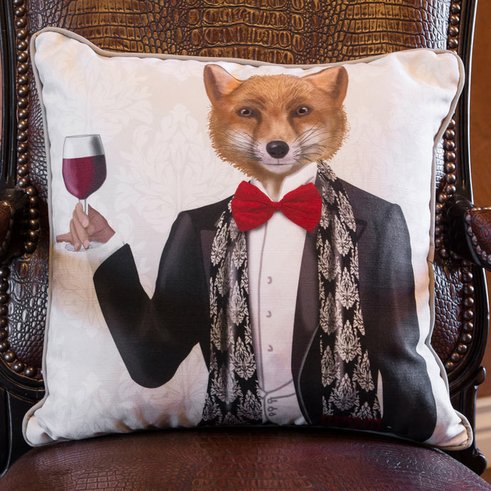 Fox in Black Jacket with Wine by Fab Funky