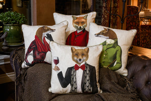 Fox with Red Scarf Pillow