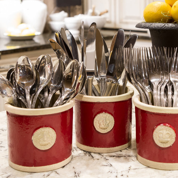 Botanical Collection Round Red Herb Pots displayed with silverware