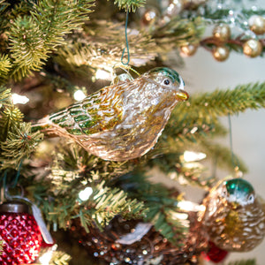 Glass Bird Ornaments  Gold and Green