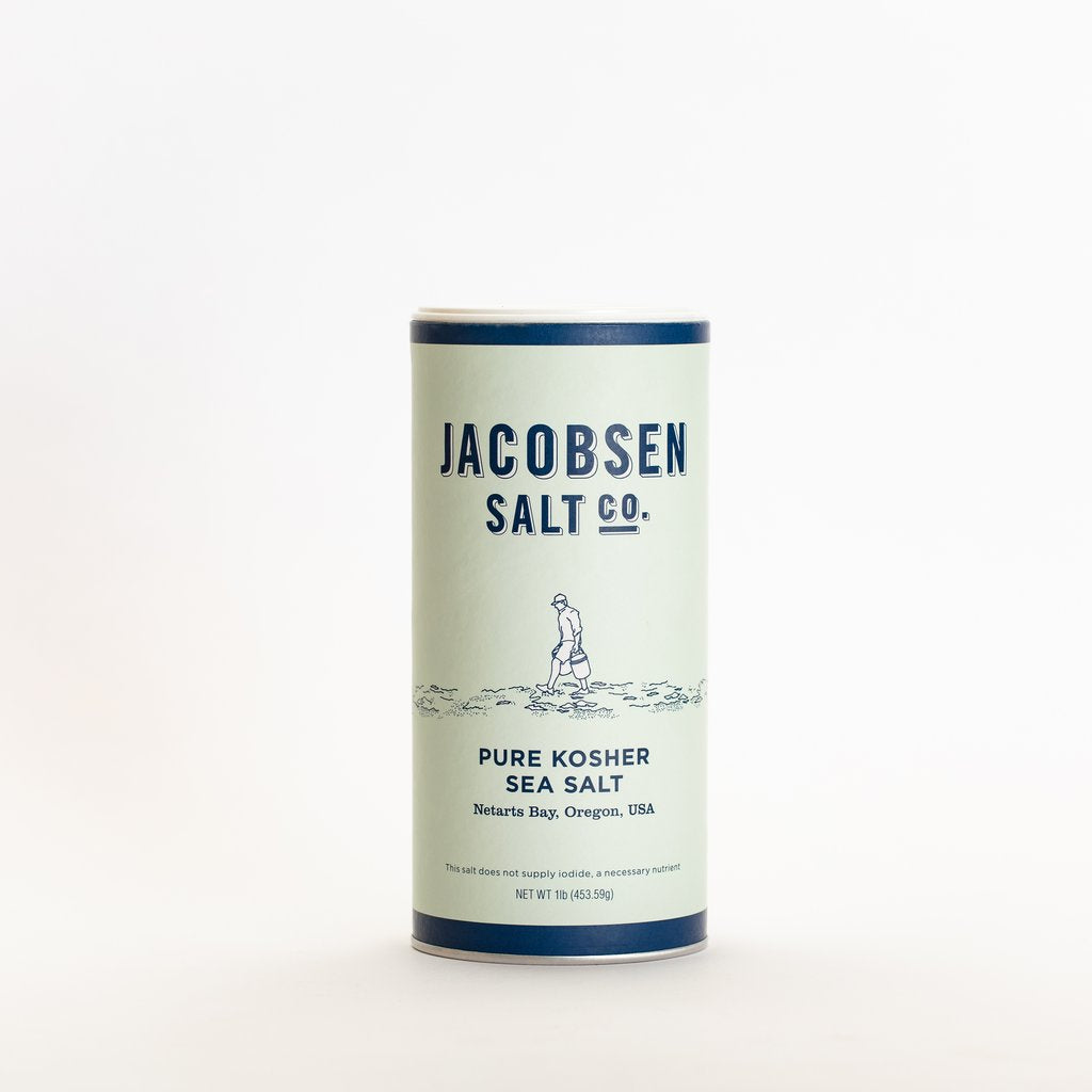 Image of the 1 pound canister of Jacobsen Salt co. Pure Kosher Sea Salt