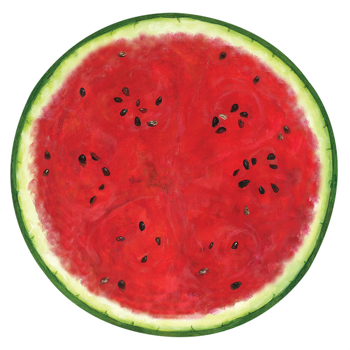 Image of a full slice of watermelon showing ring and seeds on this paper placemat