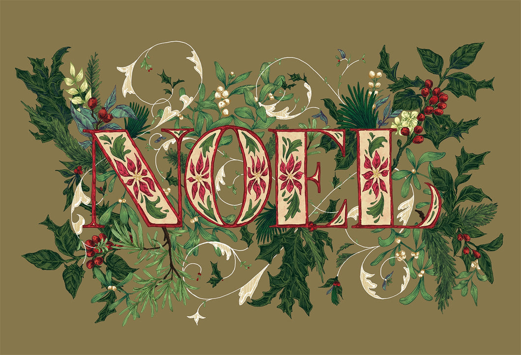 Image of the Noel paper placemat. Background of light green with holley branch and berries with other greens . Noel is written on top in red and cream and green