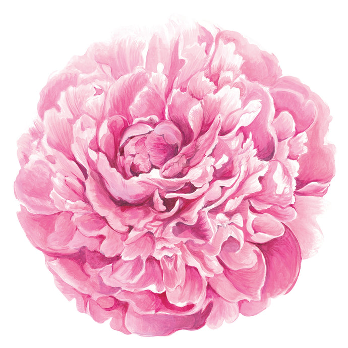 An image of a bright pink Peony paper placemat. These placemats are disposable.
