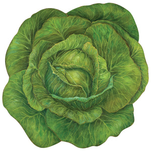 This is a picture of a beautiful bright green cabbage paper placemat that is disposable.