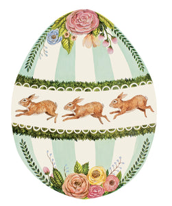 This very large Easter egg paper placemat is decorated with soft colors, bunnies and flowers these are paper and disposable