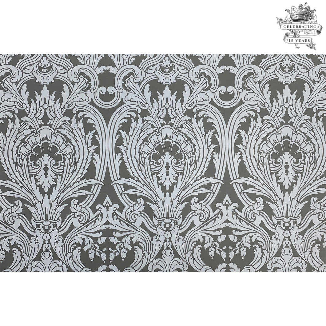 This Tapestry Anniversary Paper Placemat is in white ink on gray paper , very elegant