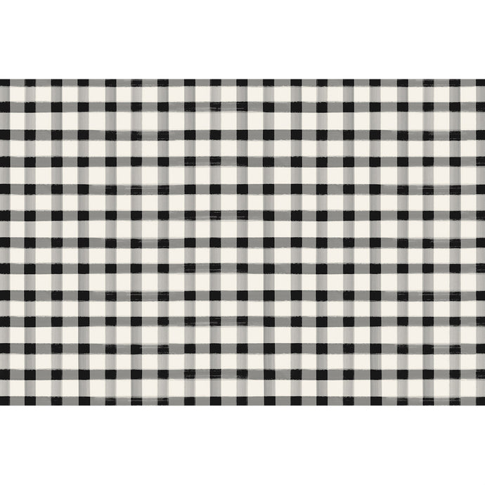 Image of the Black and White Painted Check Paper Placemat