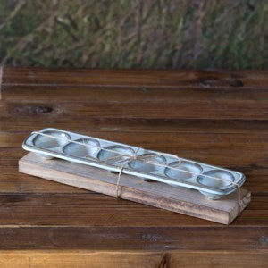 Creamware Egg Holder with Wooden Trivet