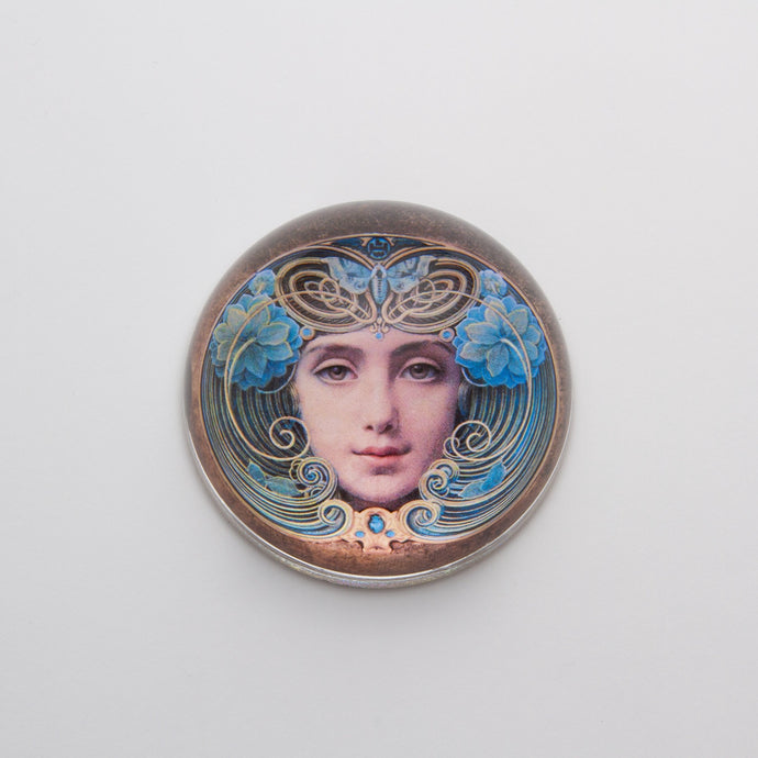 Crystal Domed Paperweight decoupaged with a Art Nouveau Woman's face