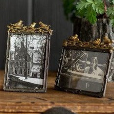 Pewter Frame With Gold Leaf Birds Vertical Frame