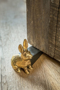 Pewter Door Stop With Gold Rabbit