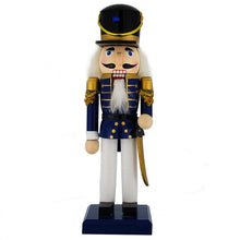 Traditional Soldier Nutcracker Blue/white/black hat 10""