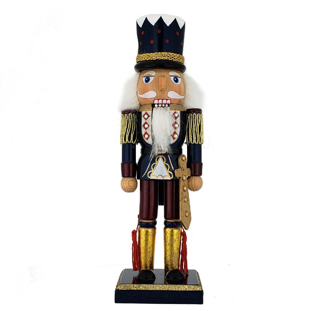 Soldier Nutcracker Blue/GoldTopHat & Sword 10