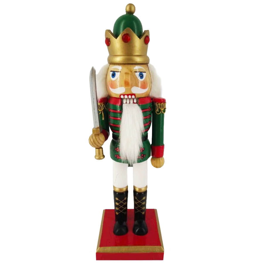 Traditional King Nutcracker Green/Bejeweled Crown 10