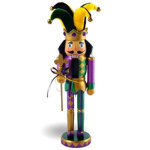 Mardi Gras Jester Nutcracker Purple/Yellow & Fleur-De-Lis  12""