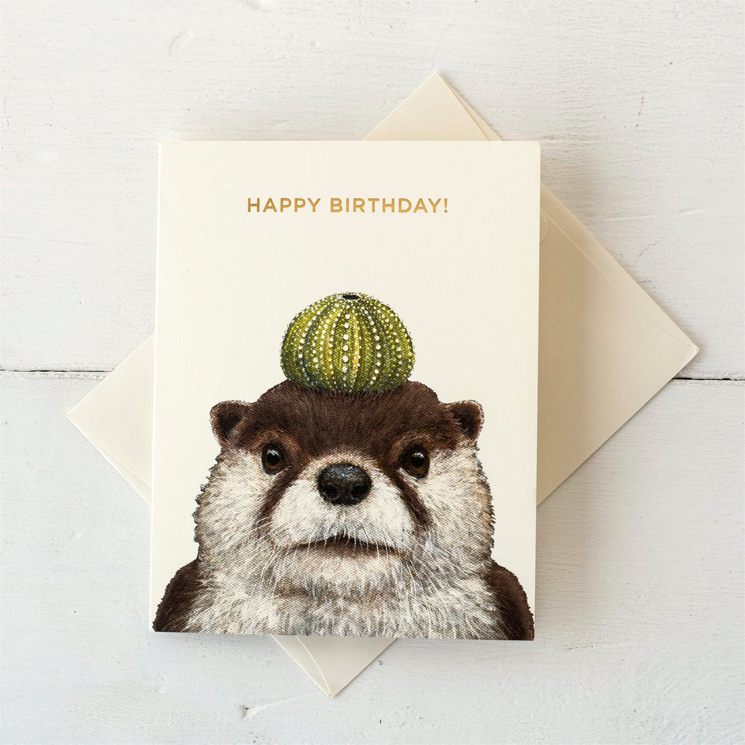 Othello the Otter   Gold Foil Happy Birthday