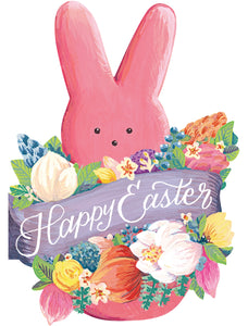 Easter card in the shape of a Easter marshmallow Peep in pink with Happy Easter written across the front of the card