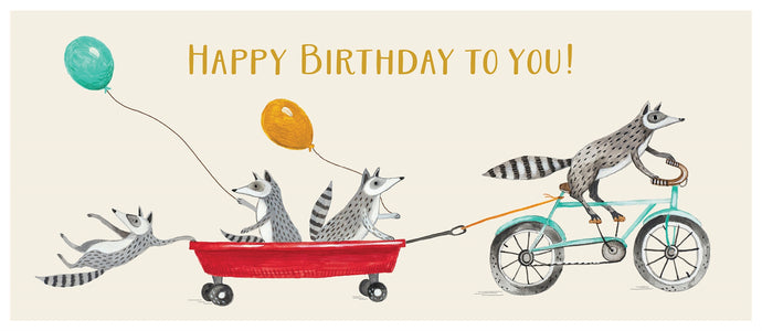 Happy Birthday Raccoons   Gold Foil Card