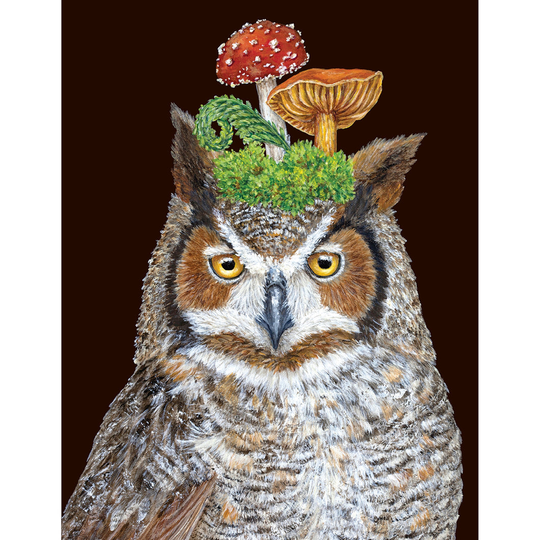With his jaunty cap of mushrooms Woody the Owl makes a delightful card to give and receive.