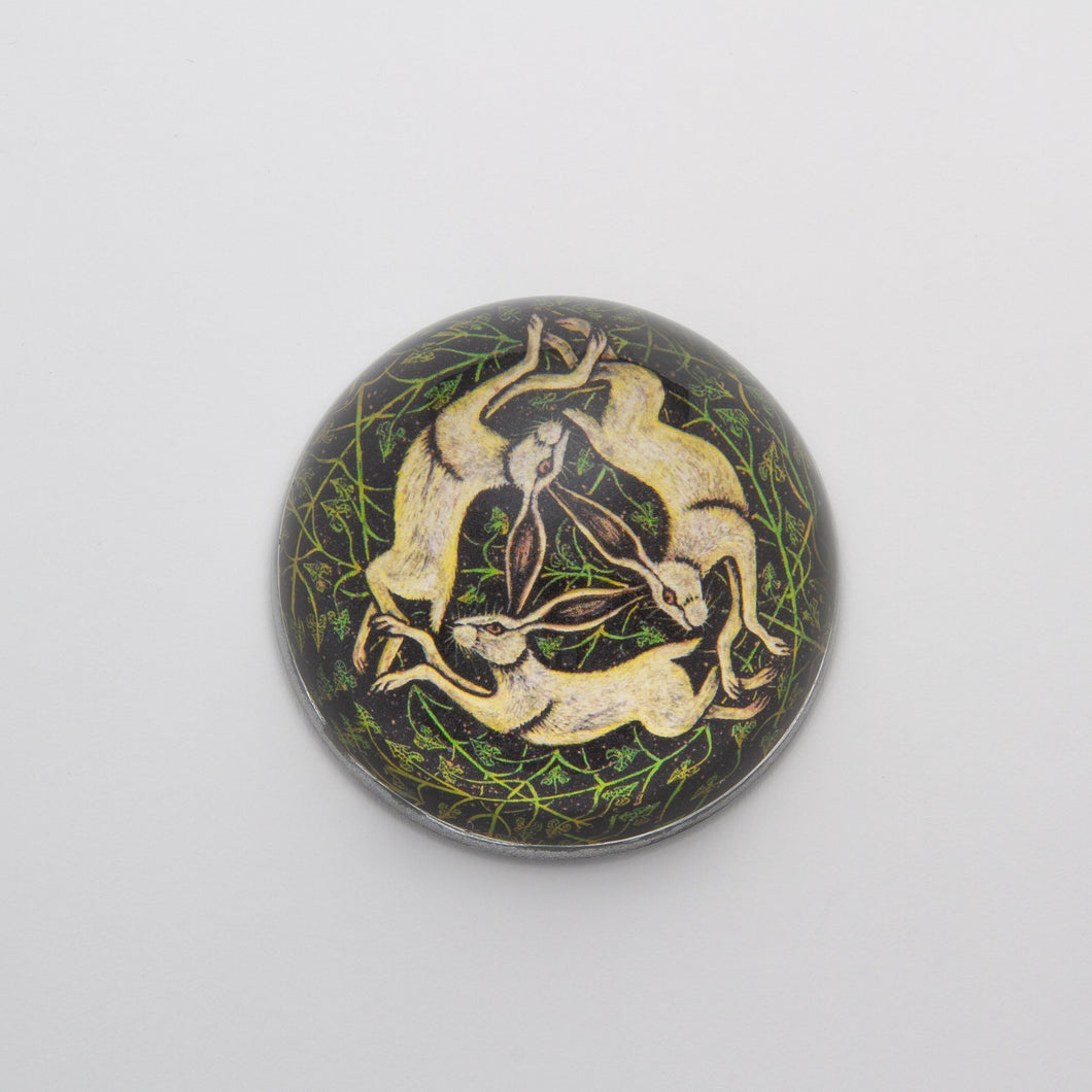 Rabbits Circling -  Crystal Dome Decoupaged Paperweight