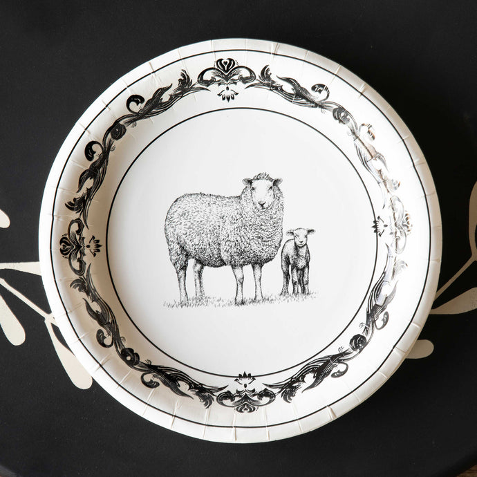 Black and White Sheep Paper Dinner Plate 10