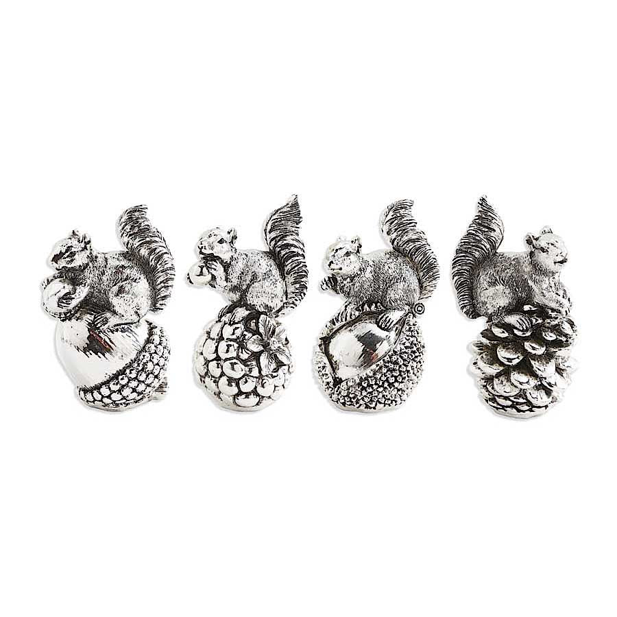 Silver Squirrels on Perched Nuts and Pine Cones