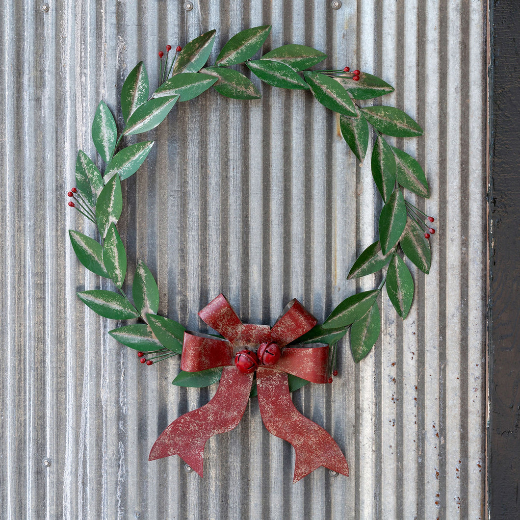 Painted Metal Bay Leaf Wreath with Red Bow