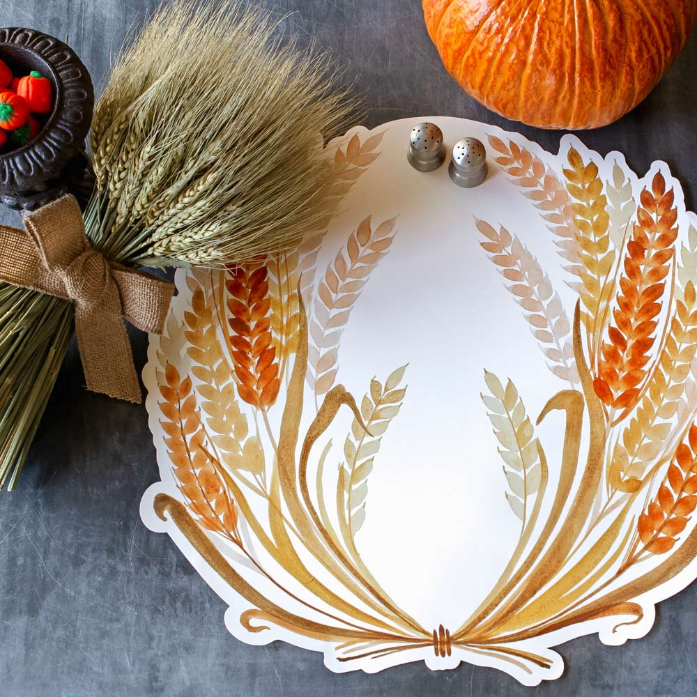A photo of the die cut wheat motif placema