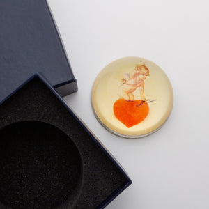Cupid Kneeling on a Red Heart - Crystal Dome Decoupaged Paperweight