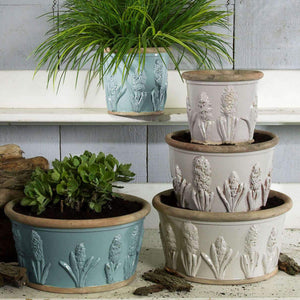 Handcrafted Pottery -Three different sizes Large, Medium and small  all embossed with images of the Hyacinth . Only available  in Ivory glaze