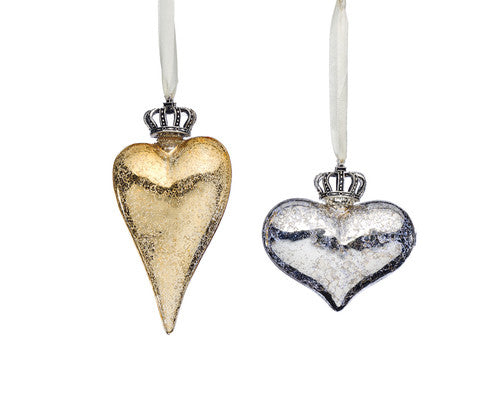 Crowned Heart Ornaments -  2 sizes and 2 colors Sold as a Set