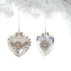 Kugel Heart Ornaments Assorted Set