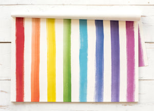 A picture of the striped multi colored paper placemats.